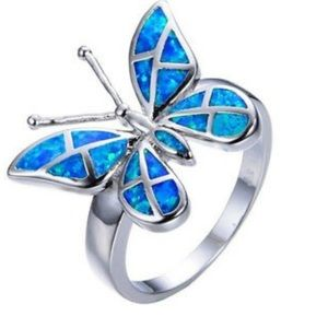 ❤️gorgeous simple blue 🦋butterfly silver ring